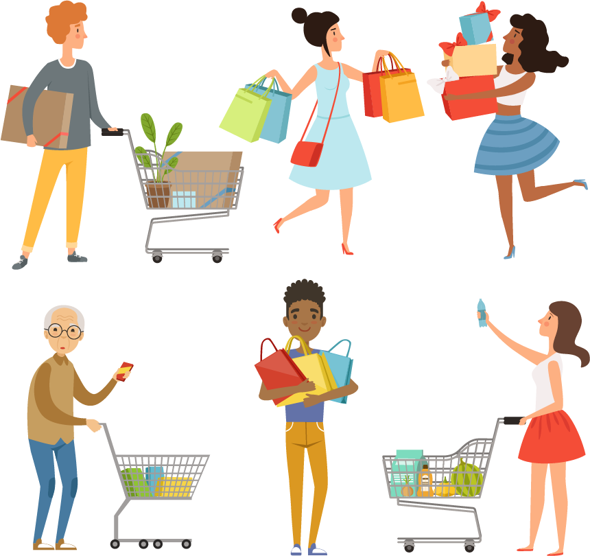 Drawings of lots of people shopping, with shopping cards and gift bags