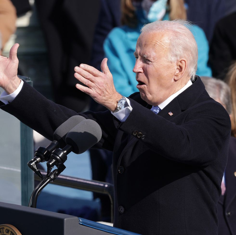 Biden delivering inauguration address with Rolex showing