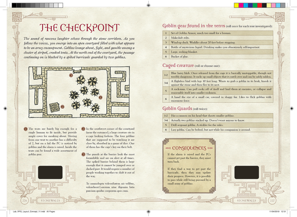 """A two-page concept spread, labeled """"Checkpoint"""". In the actual book it's """"The Encampment"""". The flavor text reads, """"The sound of raucous laughter echoes through the stone corridors. As you follow the voices, you emerge into an open courtyard filled with what appears to be an army encampment. Goblins lounge about, fight, and gamble among a cluster of striped, crooked tents. At the north end of the courtyard, the passage continuing on is blocked by a spiked barricade guarded by two Goblins""""."""