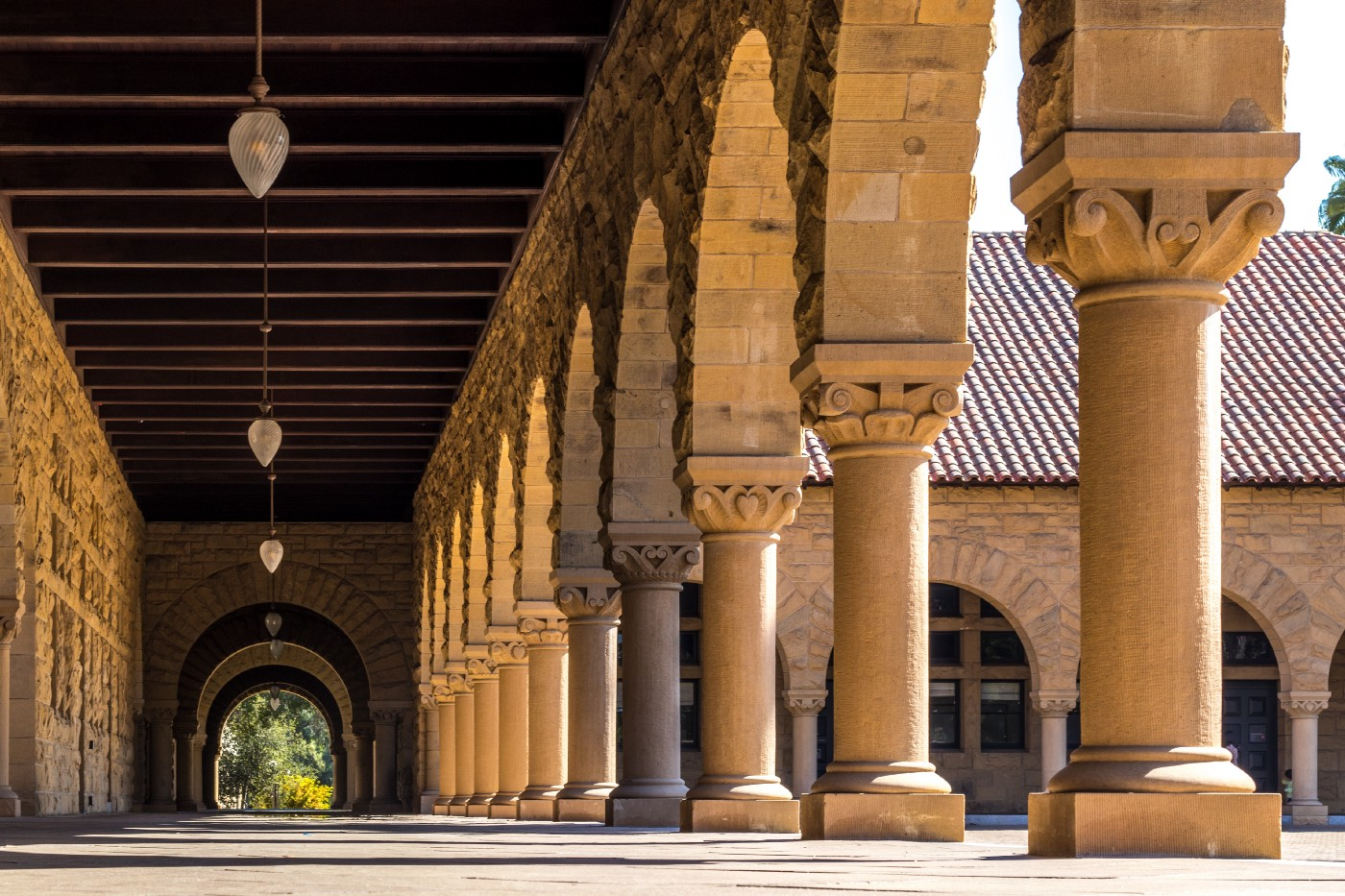 Photo of hallway and columns at Stanford University