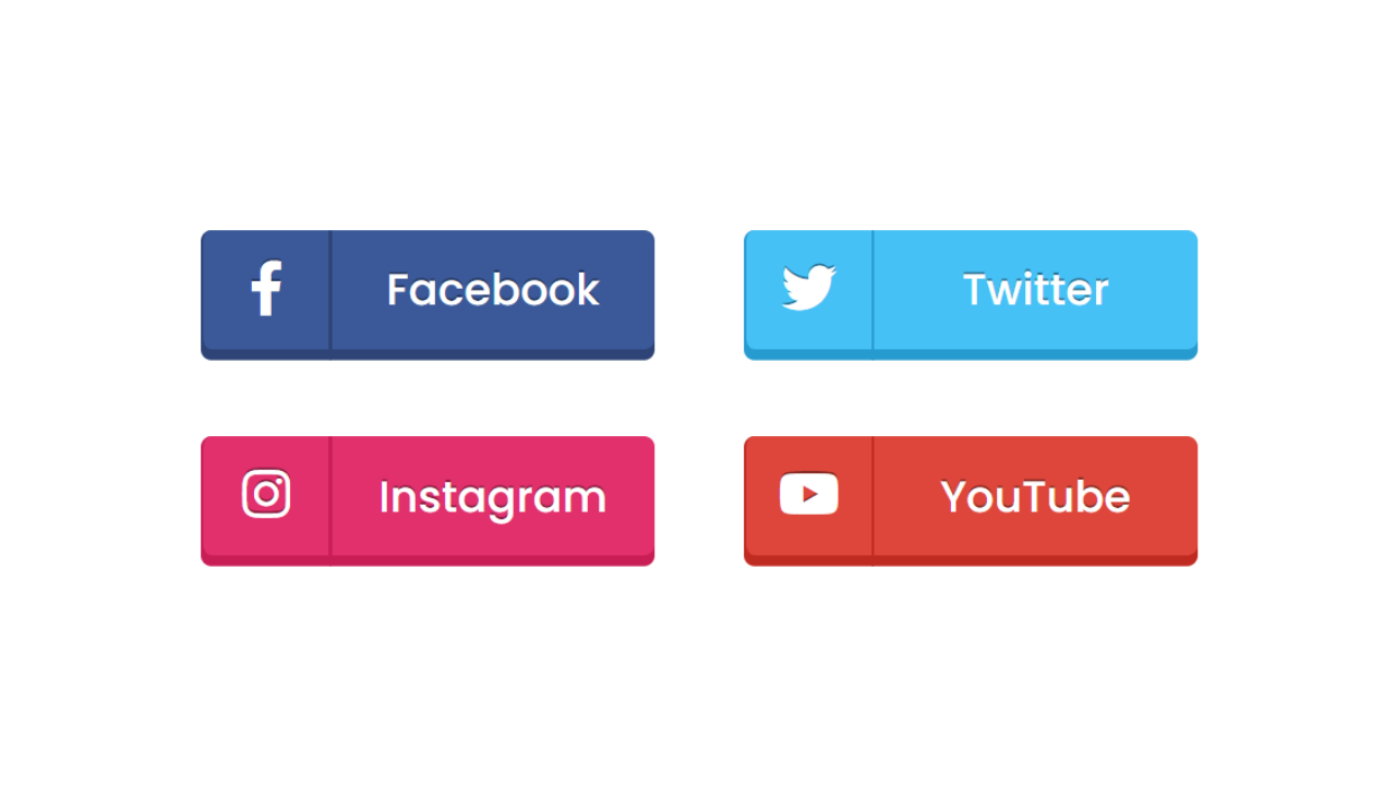 20D Social Media Buttons using only HTML & CSS   by CodingNepal ...