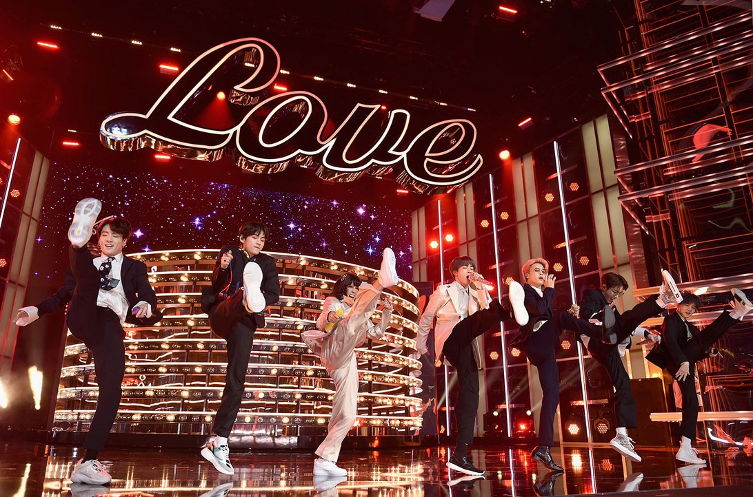 BTS and Halsey on stage at Billboard Music Awards