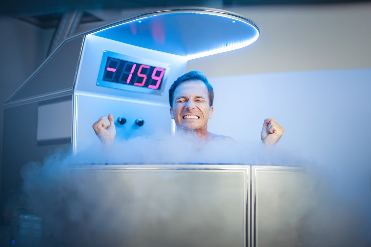 Man in a cryotherapy chamber