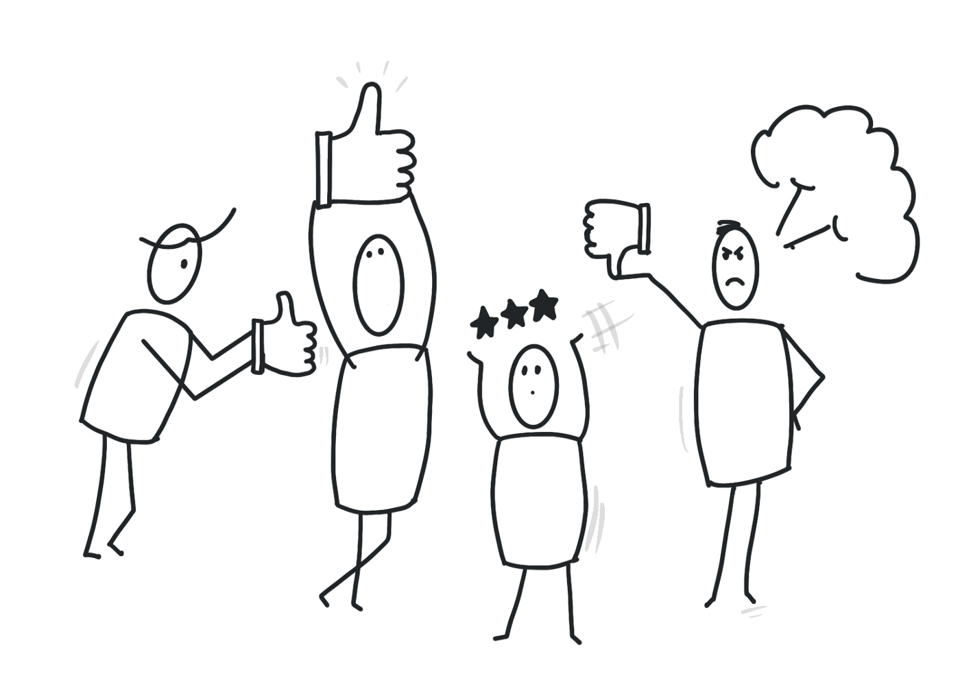 An illustration of feedback through likes and ratings.