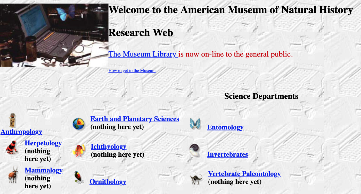 American Museum of Natural History first Home Page