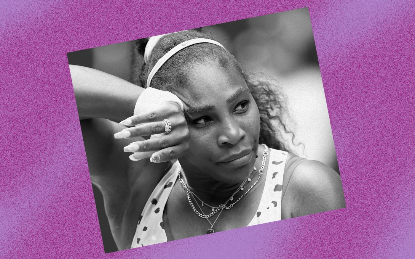 Black and white photo of Serena Williams against a violet background.