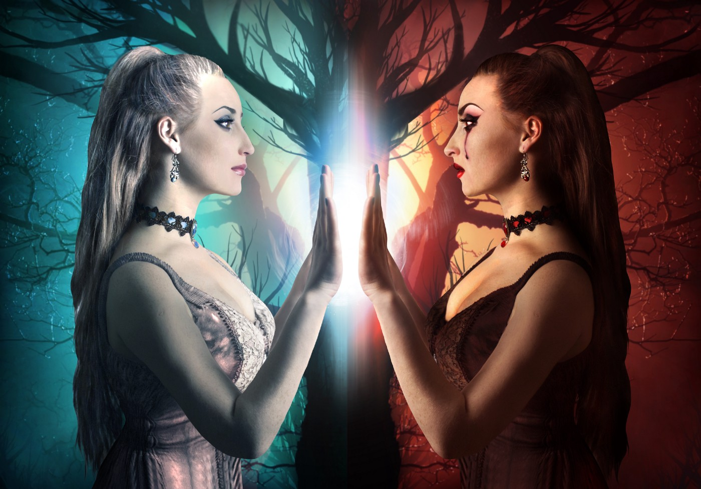 Illustration of goth-looking woman with a fire and ice style mirror image against a dead tree