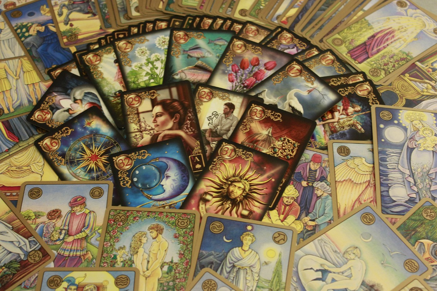 A deck of tarot cards laid out