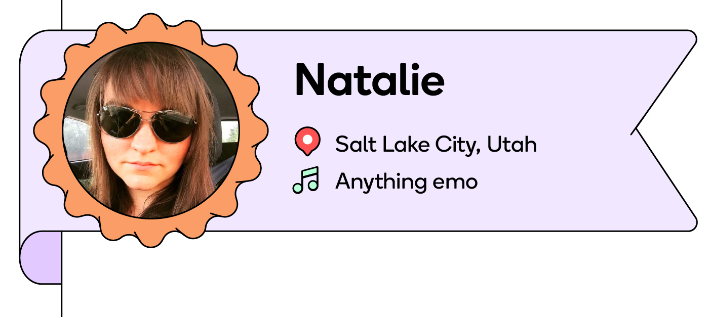 Natalie, a mom based in Utah, blasts emo music from high school when her kids aren't in the car.