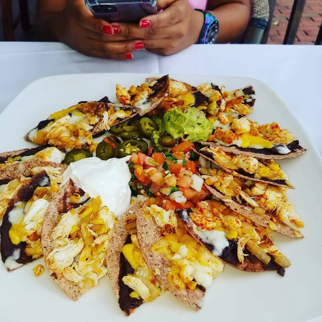 An order of blue crab nachos