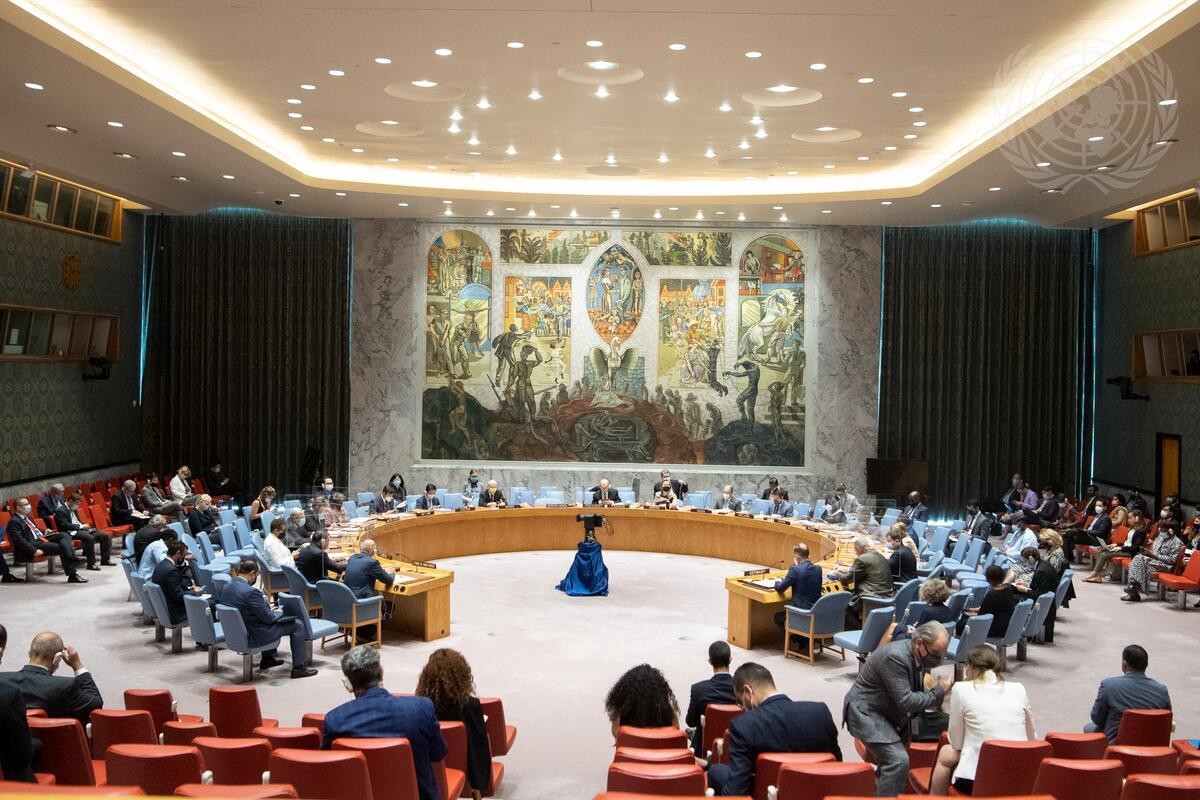 A wide view of the Security Council meeting on the situation in Libya.