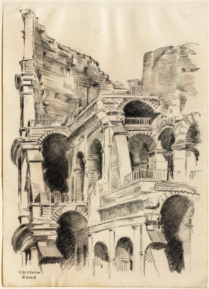 A sketch of part of the Colosseum in Rome
