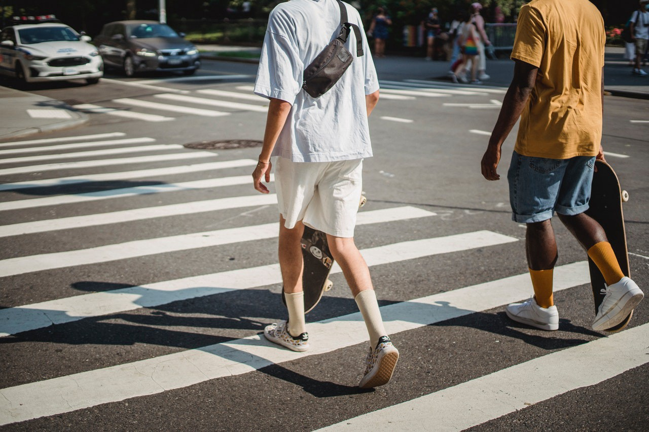 Youngsters (Gen z's) crossing the street