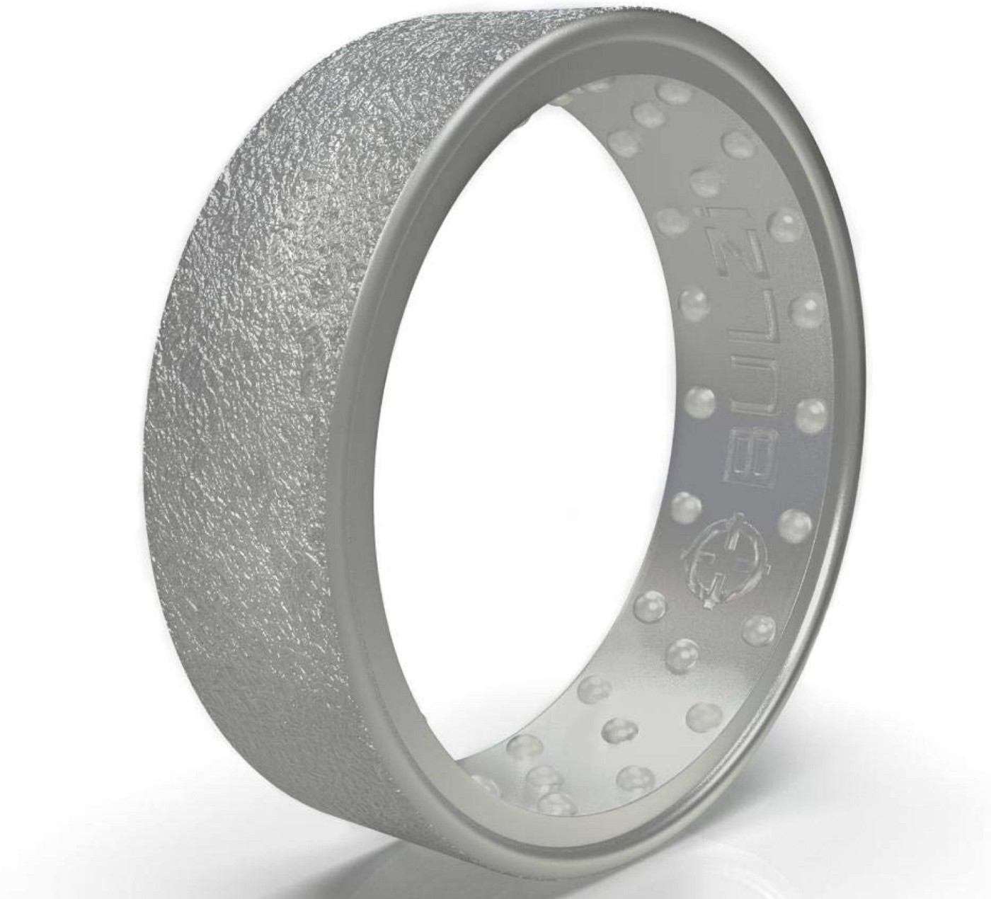 Silicone Wedding Ring, Massaging Comfort Fit Hammered Finish Silicone Ring with Airflow