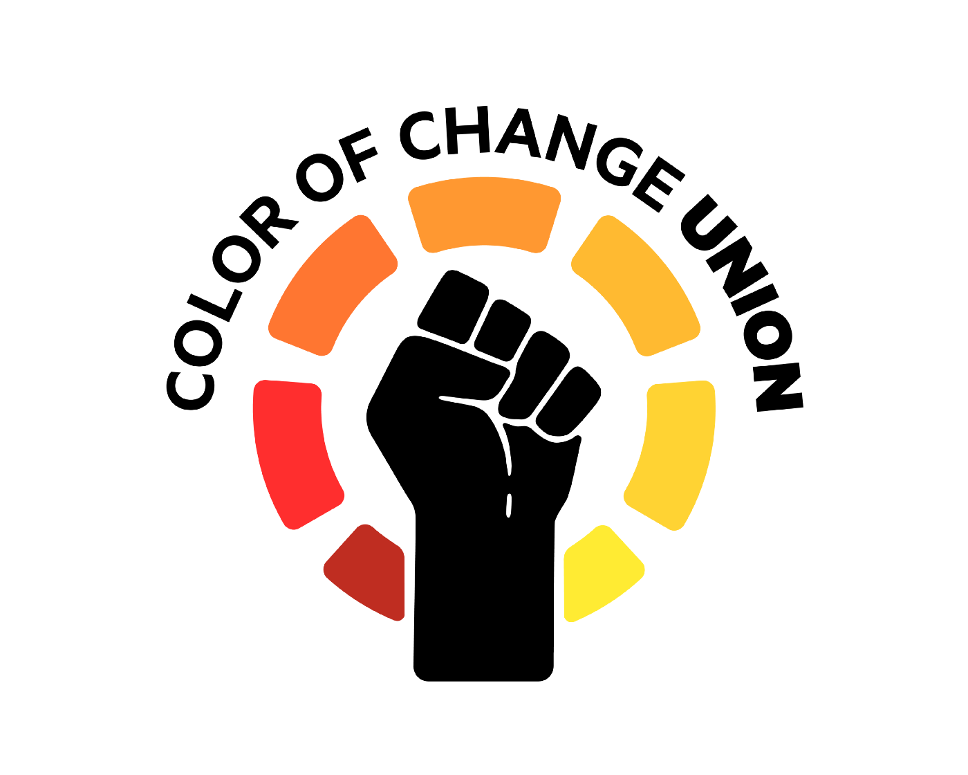 "Black fist surrounded by red, orange and yellow rectangles in a circle. ""Color Of Change Union"" arcs above the fist."