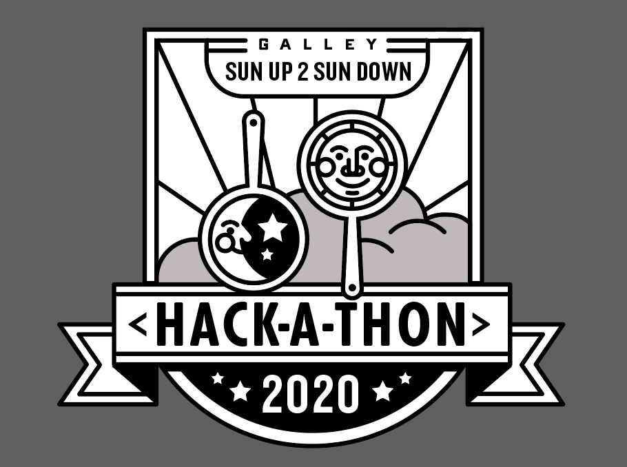 A piece of marketing material with company logo modified to include a sun and a moon. The 2020 sun up to sun down hack-a-thon