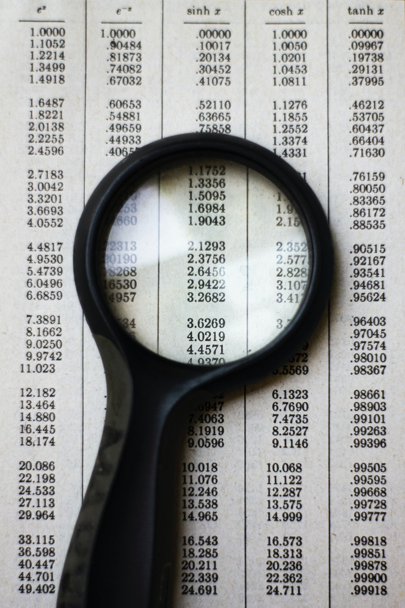 photo of a magnifying glass laid atop a table of numbers