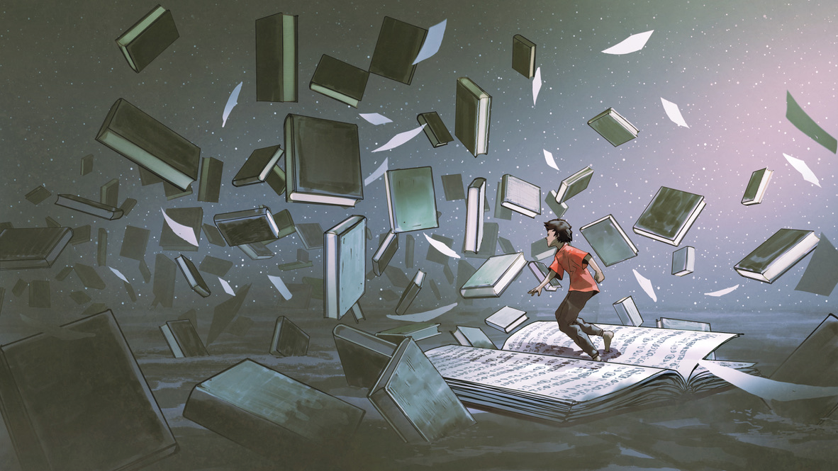 A figure in a red shirt wandering through a storm of wind-tossed books. Where's that one rule…?