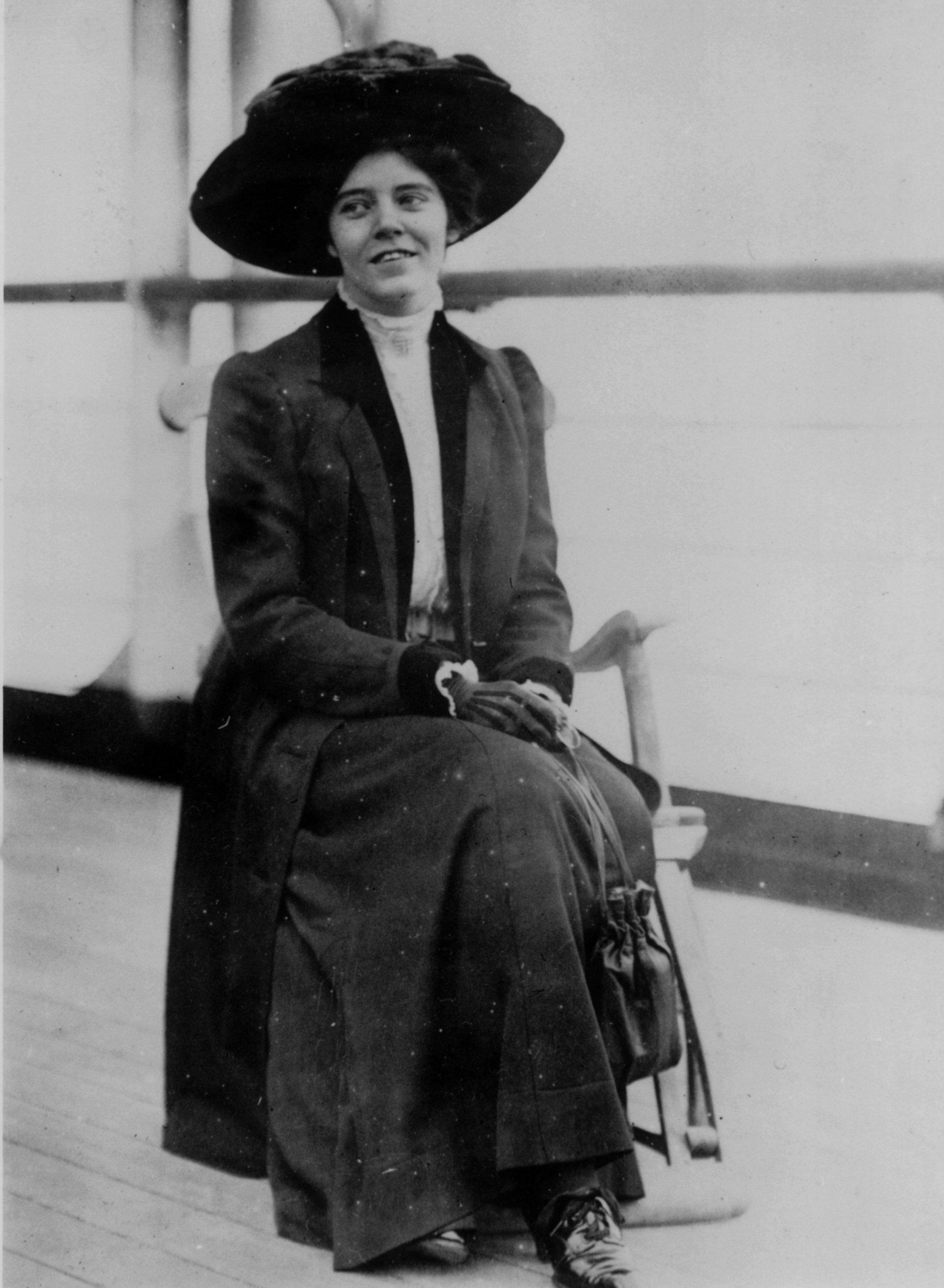 American suffragist Alice Paul on the deck of a steamer, January 1910