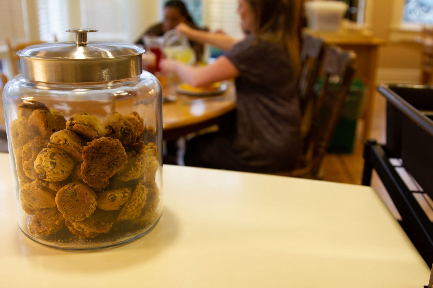 A jar of cookies sits on a counter at Canuck Place