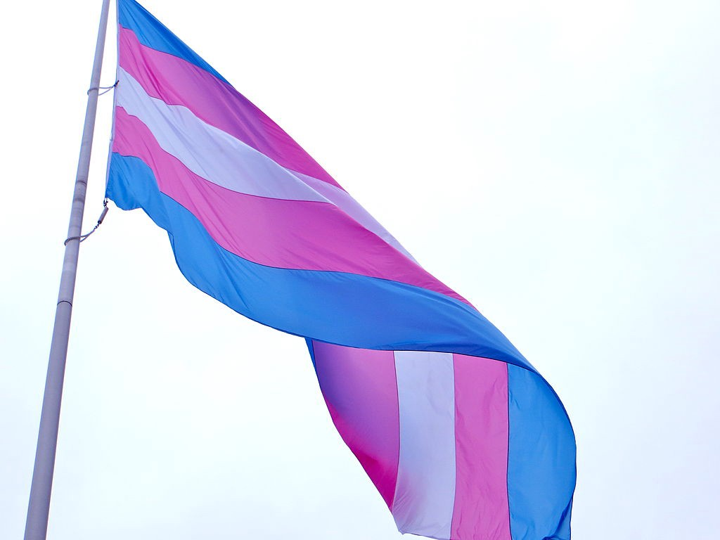Transgender flag against very light blue sky