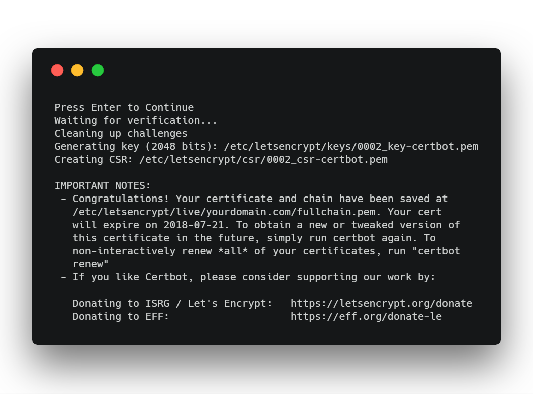 Node + Express + LetsEncrypt : Generate a free SSL certificate and