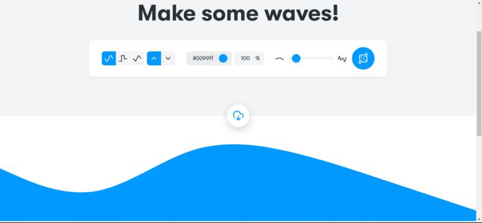 SVG waves in blue and a view of a variety of settings that you can improve your waves with them.