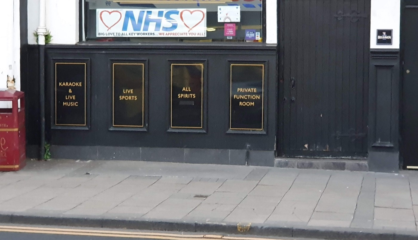 Shop window with message of support for NHS