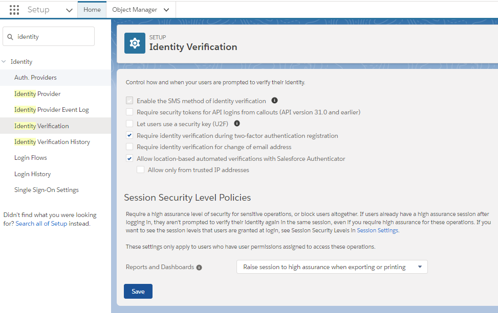 Salesforce — Require High Assurance Identity Verification Before