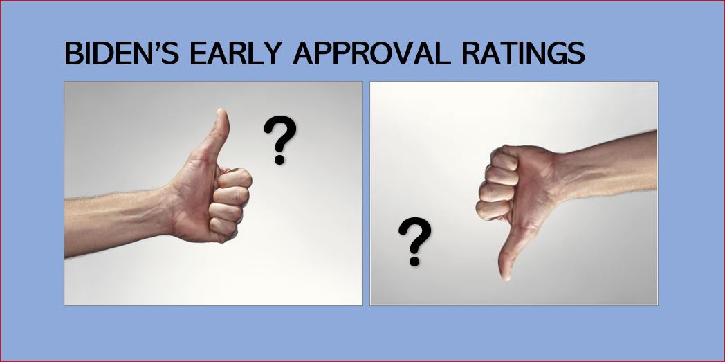 "Thumbs up and thumbs down with question marks and the words ""Biden's Early Approval Ratings"""