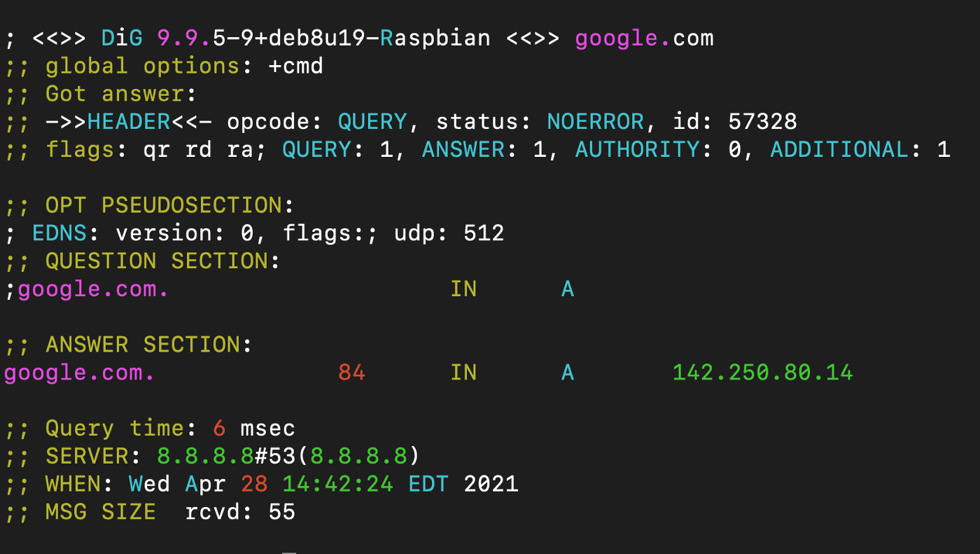 screenshot of the DIG command colorised with GRC