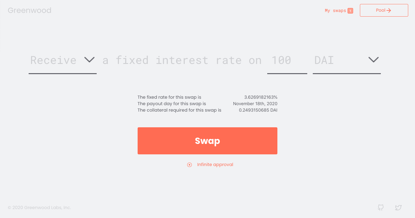 Greenwood is an automated market maker for cryptocurrency interest rate swaps built on Ethereum.