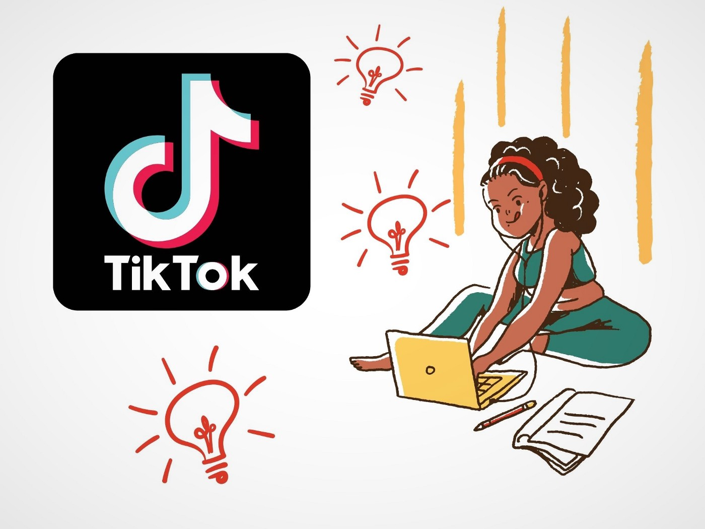 TikTok logo with ideas inspiring a writer on a laptop.