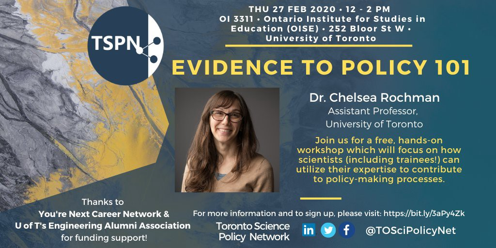 Event poster about the Evidence To Policy 101 workshop which took place on Thursday 27 Feb 2020 at the University of Toronto.