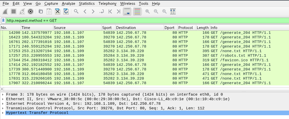 Network packets analysis with Wireshark.