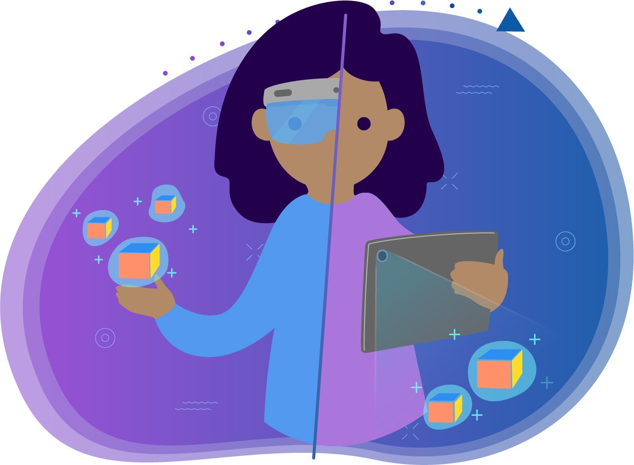 Illustration showing a person using both a headset and a tablet for AR.
