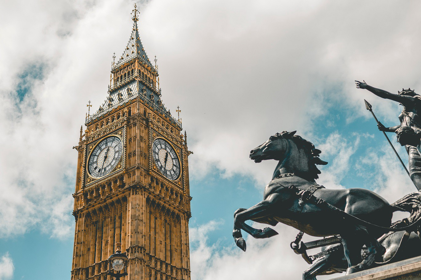 Big Ben in London and Boudicca statue