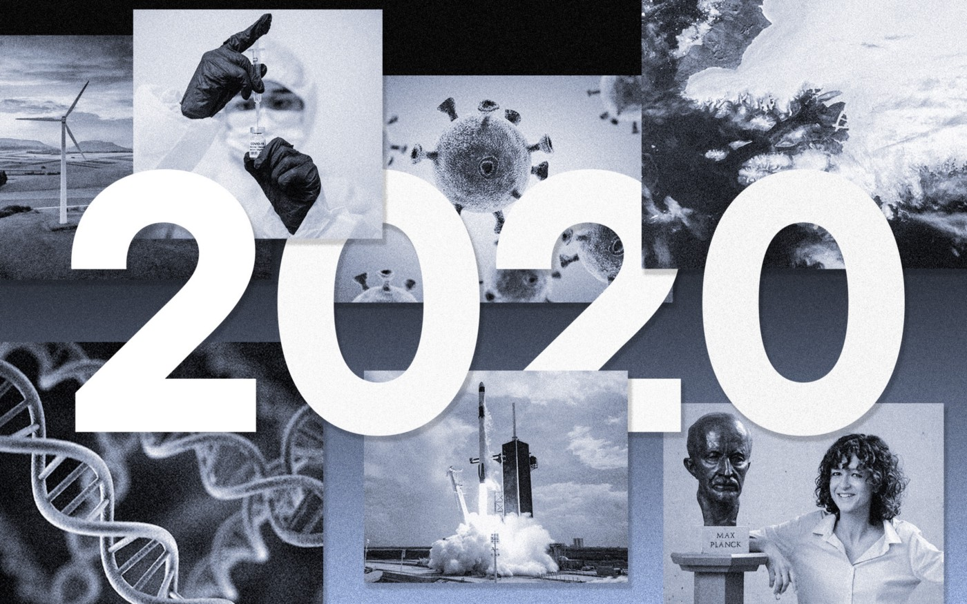 """Collage of DNA, SpaceX launch, a scientist drawing up a syringe, the Covid molecule, and a woman scientist + the text """"2020"""""""