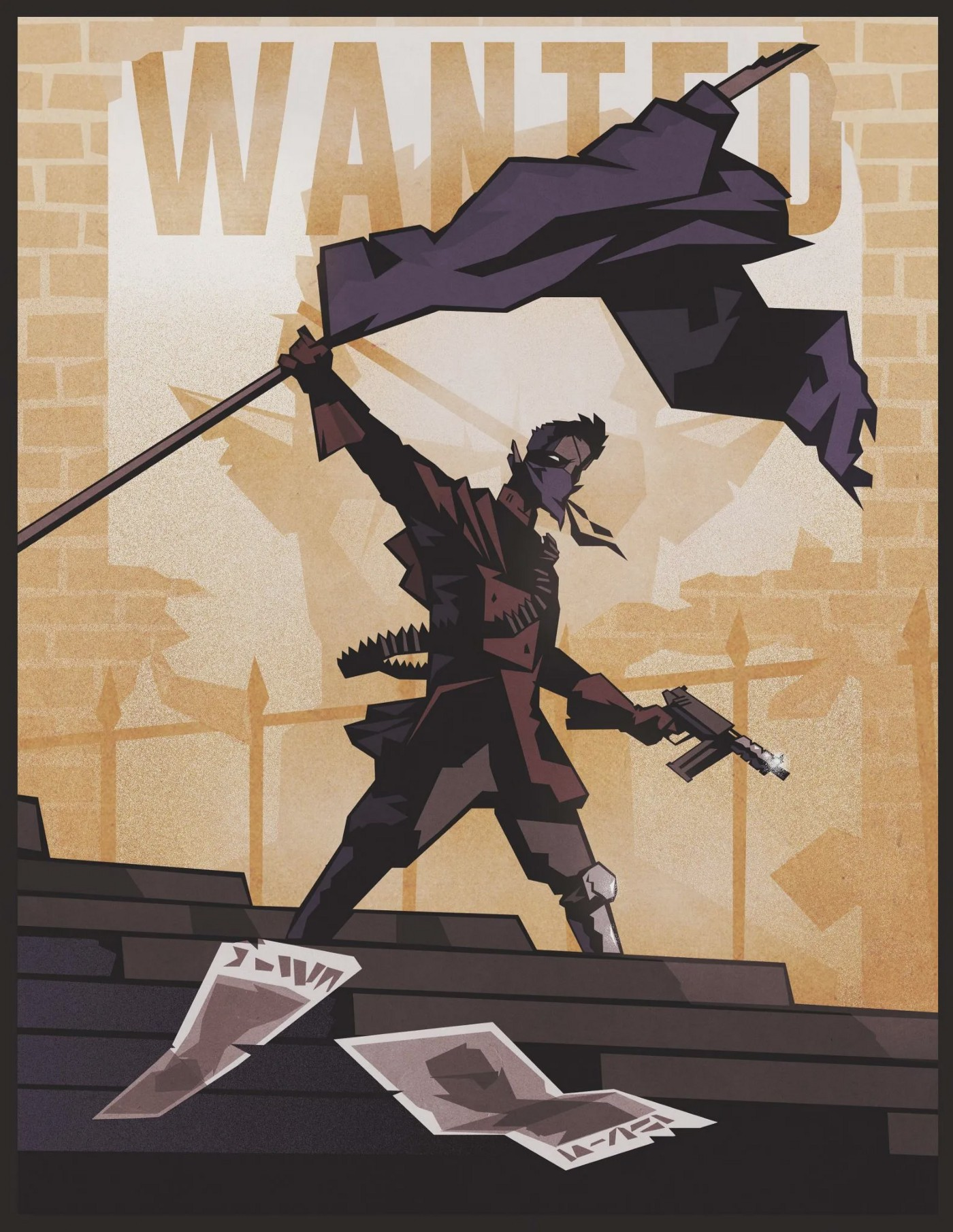 A drow in ad hoc grey and brown armor holds up a large purple flag. He wears a purple bandana over his mouth and nose. His pointed ears stick out. He holds a large pistol with a large magazine forward of the trigger, and wears a bandolier of bullets over his shoulder. in the background is a WANTED poster of a drow with an eye patch.