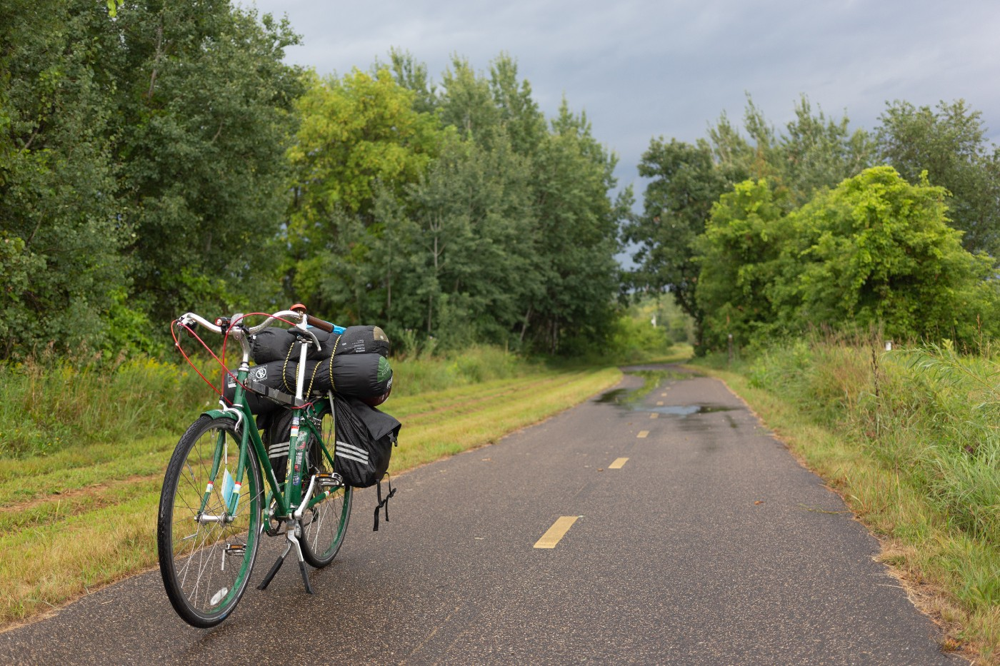 My bicycle is stopped on the Gateway State Trail in Washington County, MN.