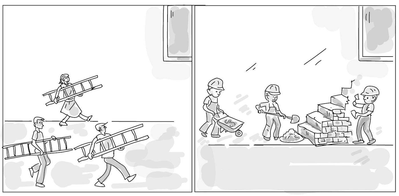 People carrying a ladder each vs building stairs (platform) for everyone to use.