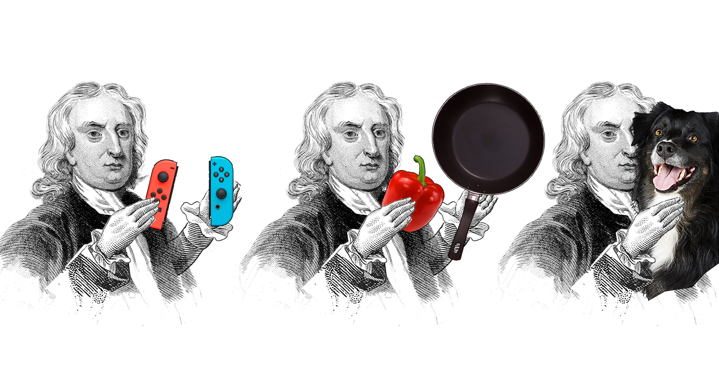 A drawn portrait of Newton with objects including a Nintendo switch, a bell pepper and frying pan, and a dog.