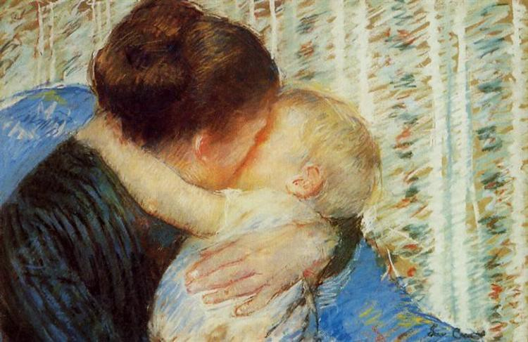Impressionist painting by Mary Cassat depicting a mother embracing her child