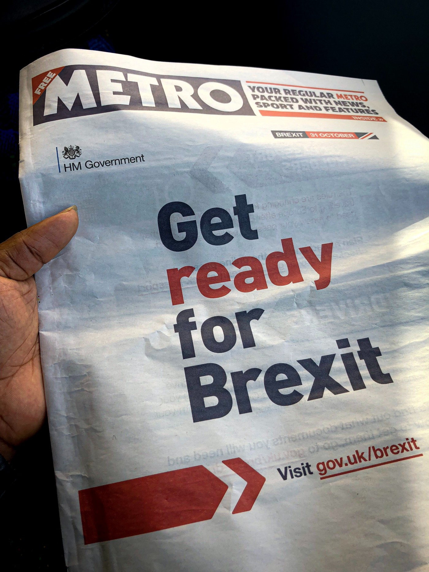 Newspaper heading—Get ready for Brexit