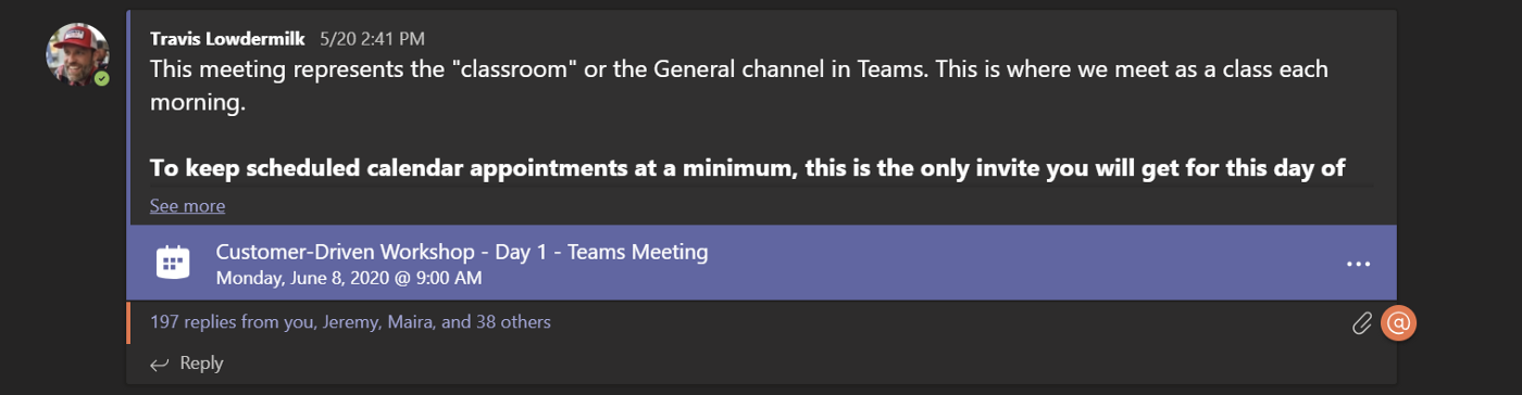 A meeting scheduled in a Microsoft Teams General channel