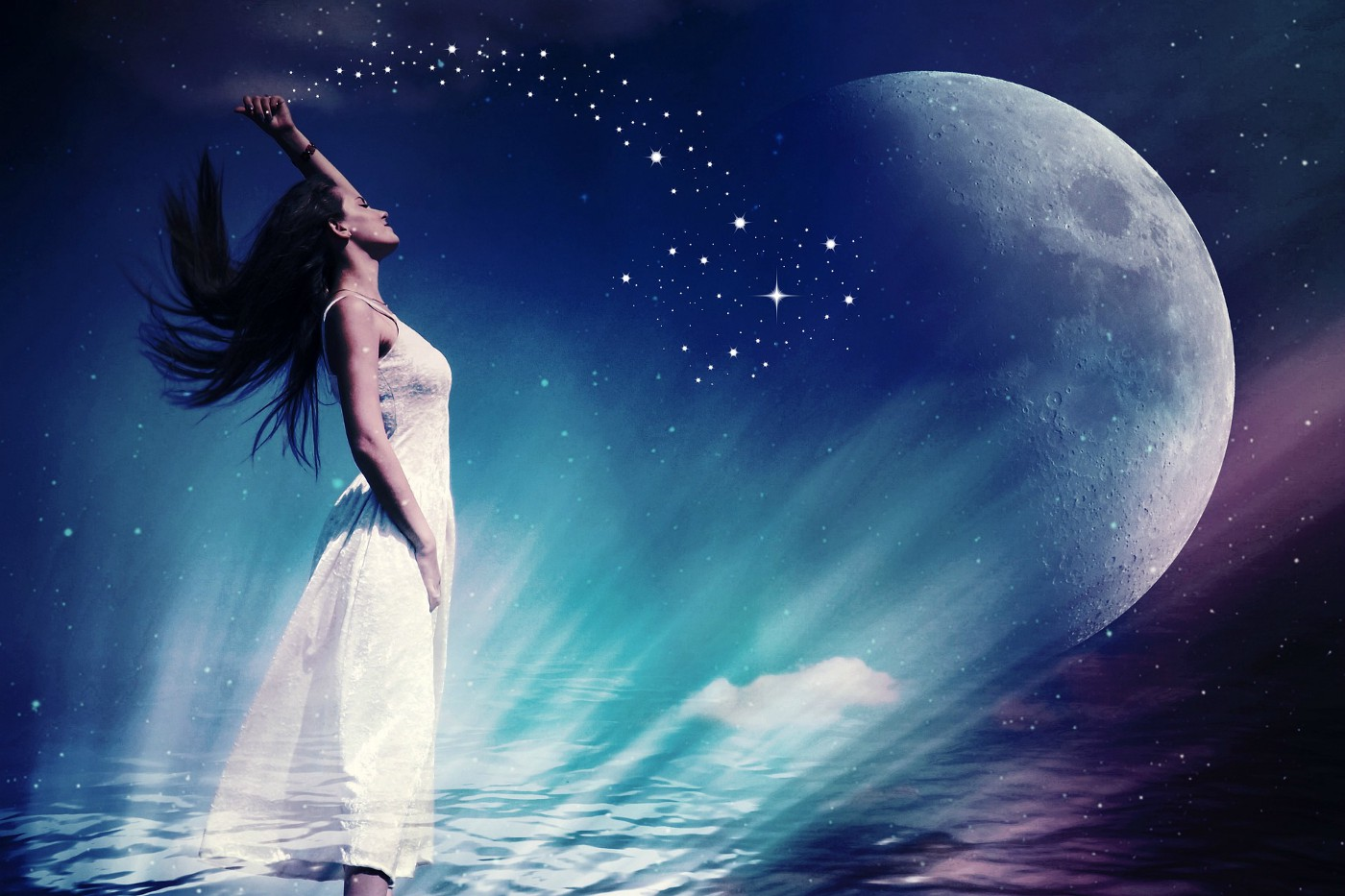 Fantasy image of woman standing infront of moon