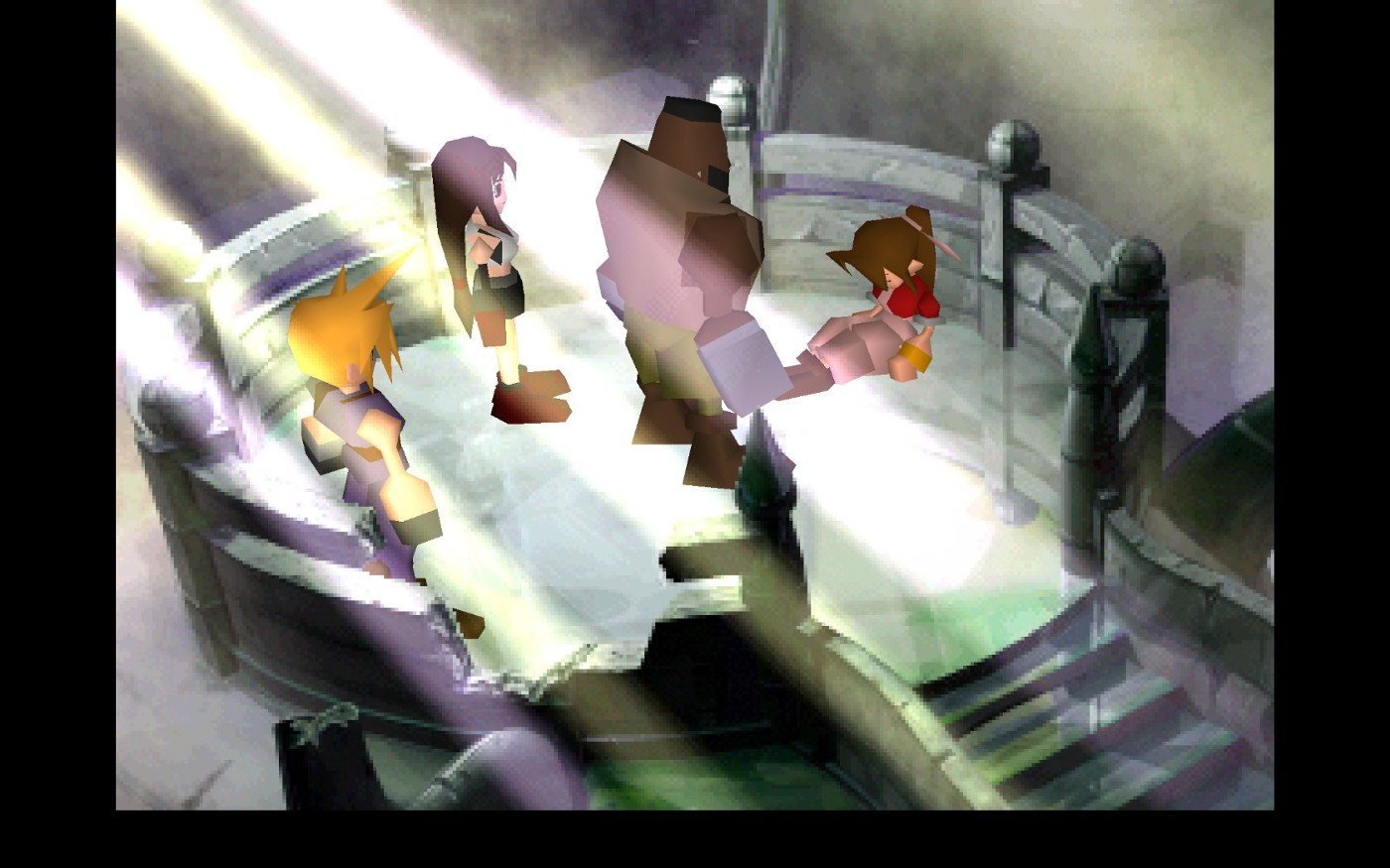 Cloud, Tifa and Barrett contemplate in silence the lifeless body of Aeris.