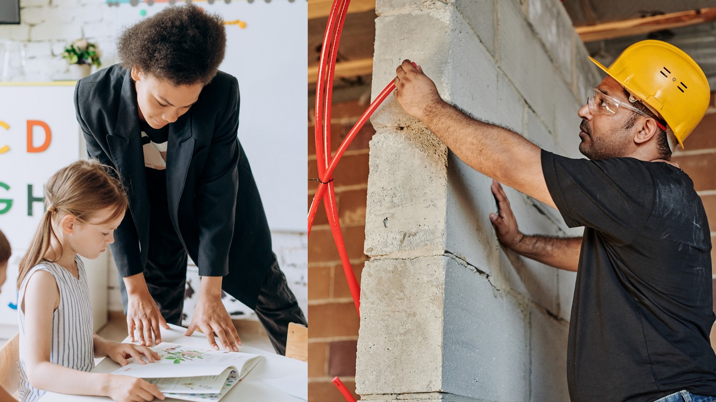 On the left is a picture of a female teacher helping a student. On the right is a construction working installing wiring.