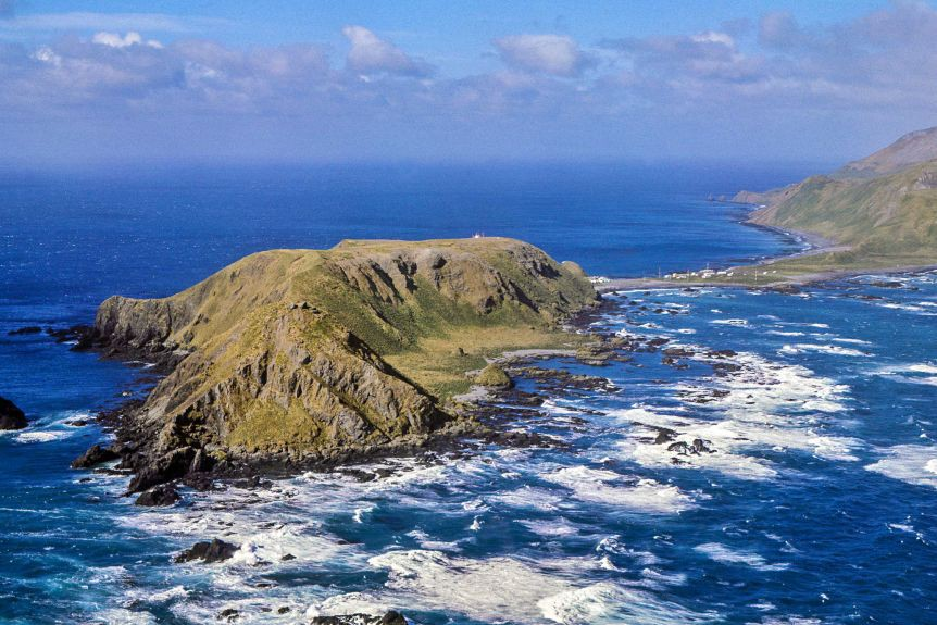 A photo of Macquarie Island from afar