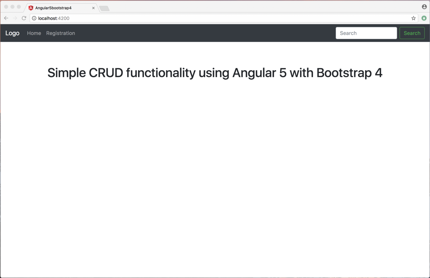 Simple CRUD functionality using Angular 5 with Bootstrap 4